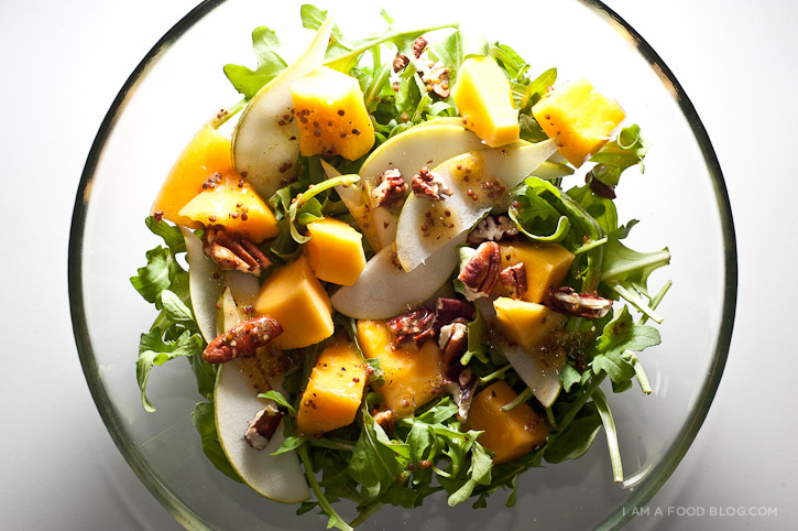 papaya pear arugula salad with lime mustard dressing - www.iamafoodblog.com