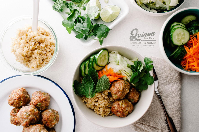 lemongrass pork meatball quinoa bowl recipe