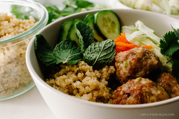 lemongrass pork meatball quinoa bowl recipe - www.iamafoodblog.com