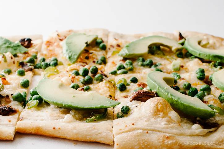 pea and avocado pizza recipe - www.iamafoodblog.com