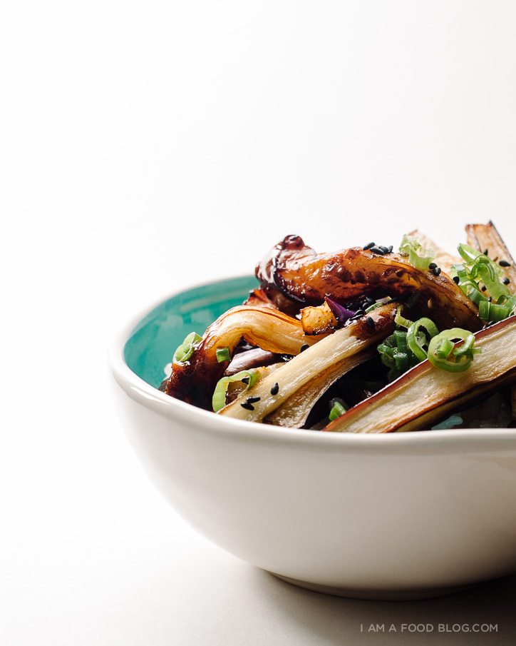 honey garlic eggplant recipe - www.iamafoodblog.com