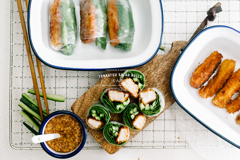 tonkatsu salad roll recipe - www.iamafoodblog.com
