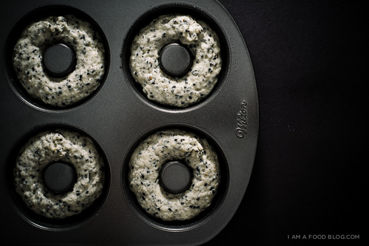 totoro black sesame baked donuts recipe - www.iamafoodblog.com