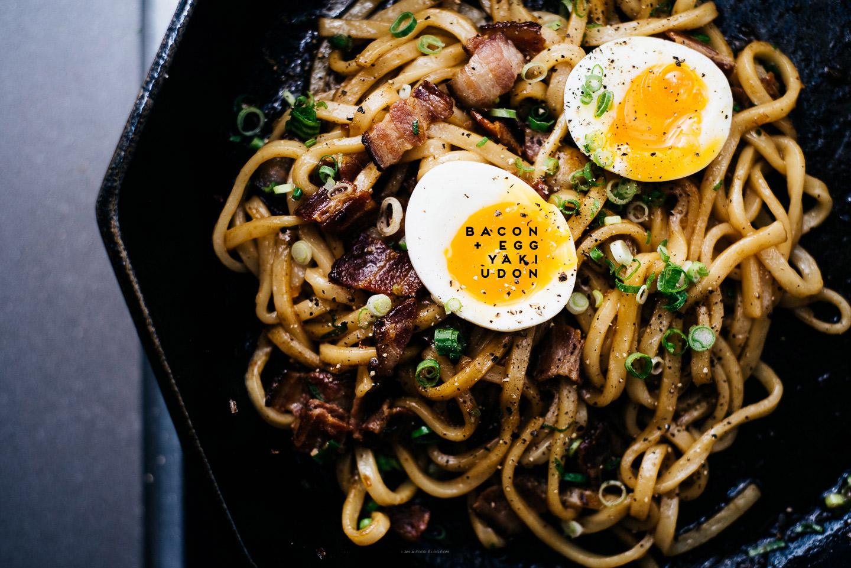 bacon and egg yakiudon recipe - www.iamafoodblog.com