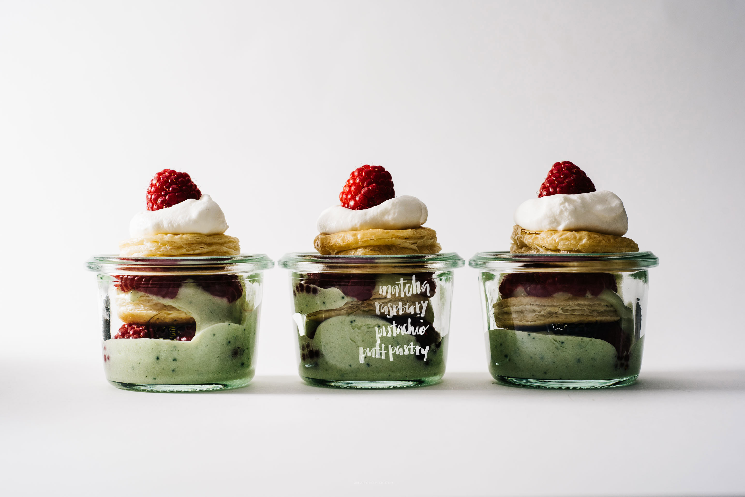 mini pistachio matcha raspberry puff pastry mille feuille jars - www.iamafoodblog.com