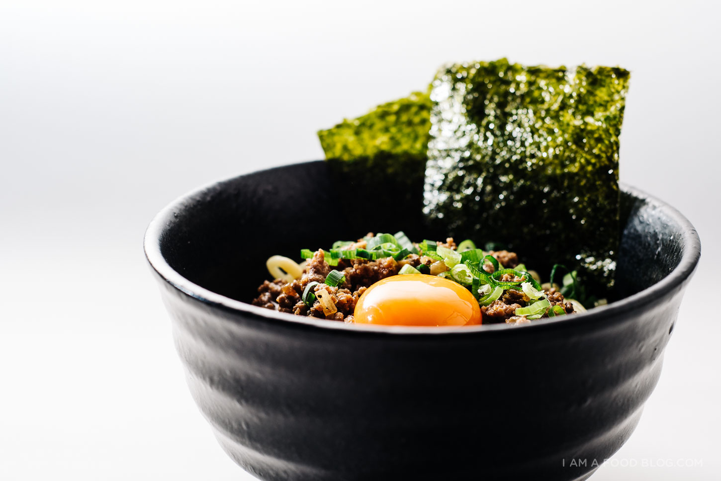 mazemen: broth-less japanese ramen with ginger garlic beef, miso gravy and eggs - www.iamafoodblog.com