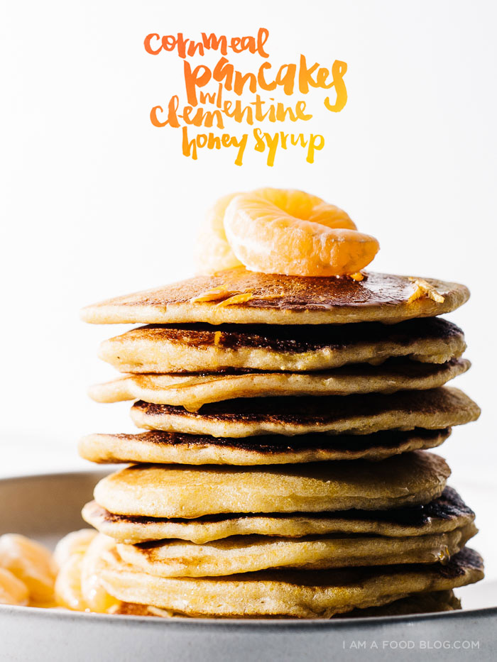 cornmeal pancakes with clementine honey syrup - www.iamafoodblog.com