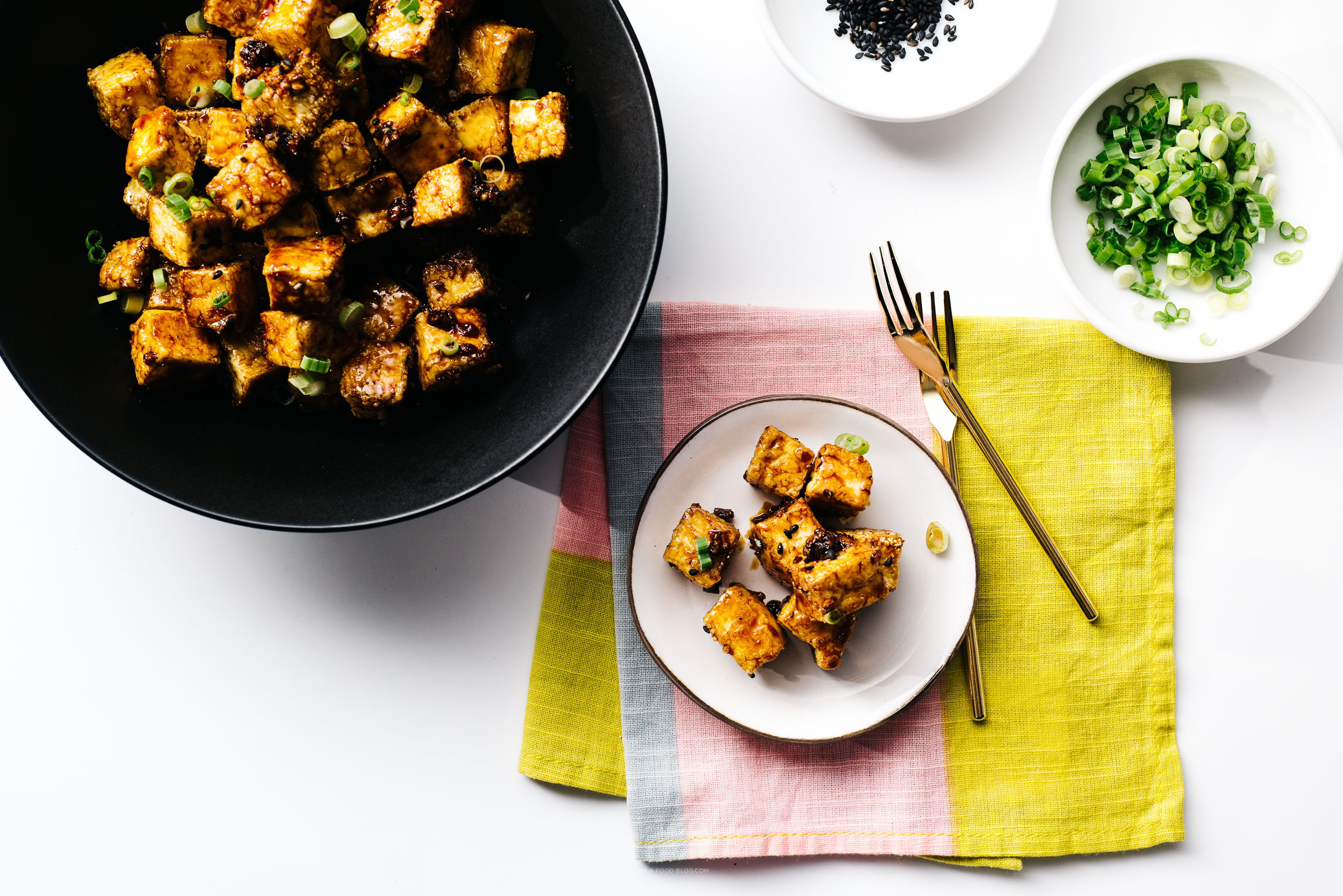 crispy oven baked honey garlic tofu bites