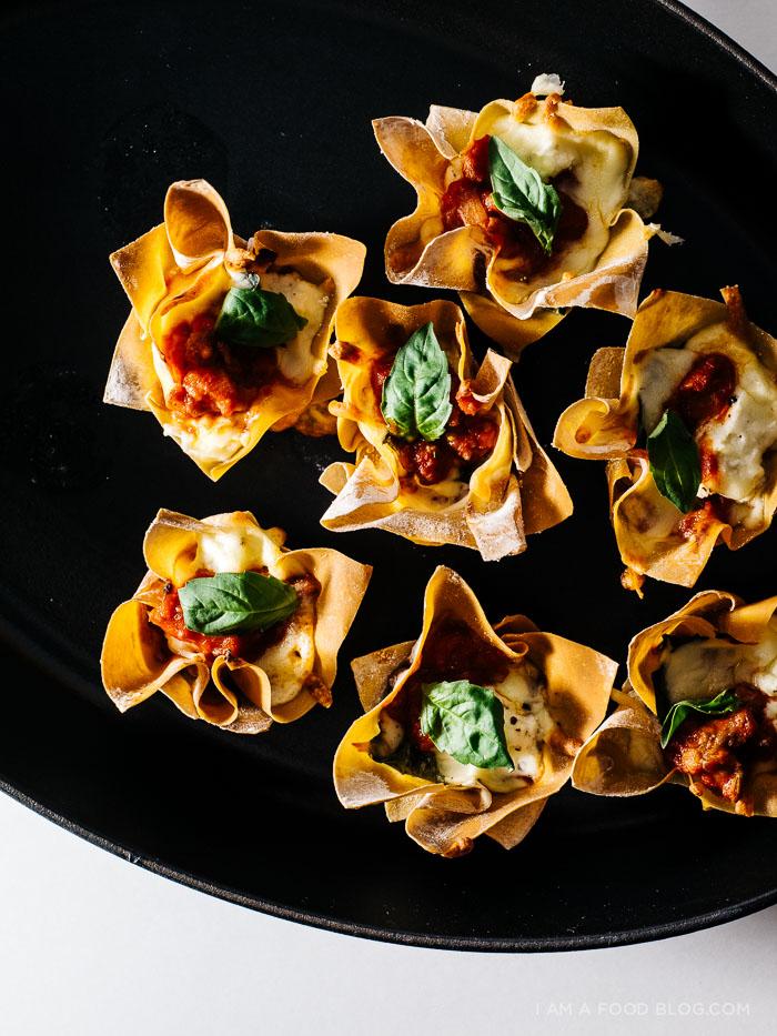 wonton lasagna cups recipe - www.iamafoodblog.com