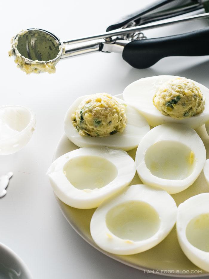 jalapeno popper deviled eggs recipe - www.iamafoodblog.com