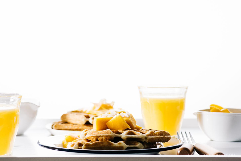 mango coconut waffles - www.iamafoodblog.com