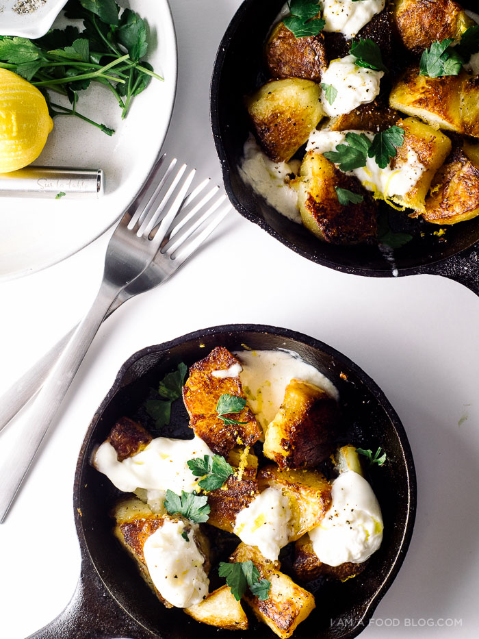 roast potatoes and burrata recipe - www.iamafoodblog.com