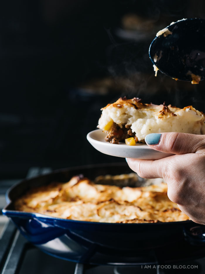 shepherd's pie with roasted garlic cream cheese mashed potatoes Recipe - www.iamafoodblog.com