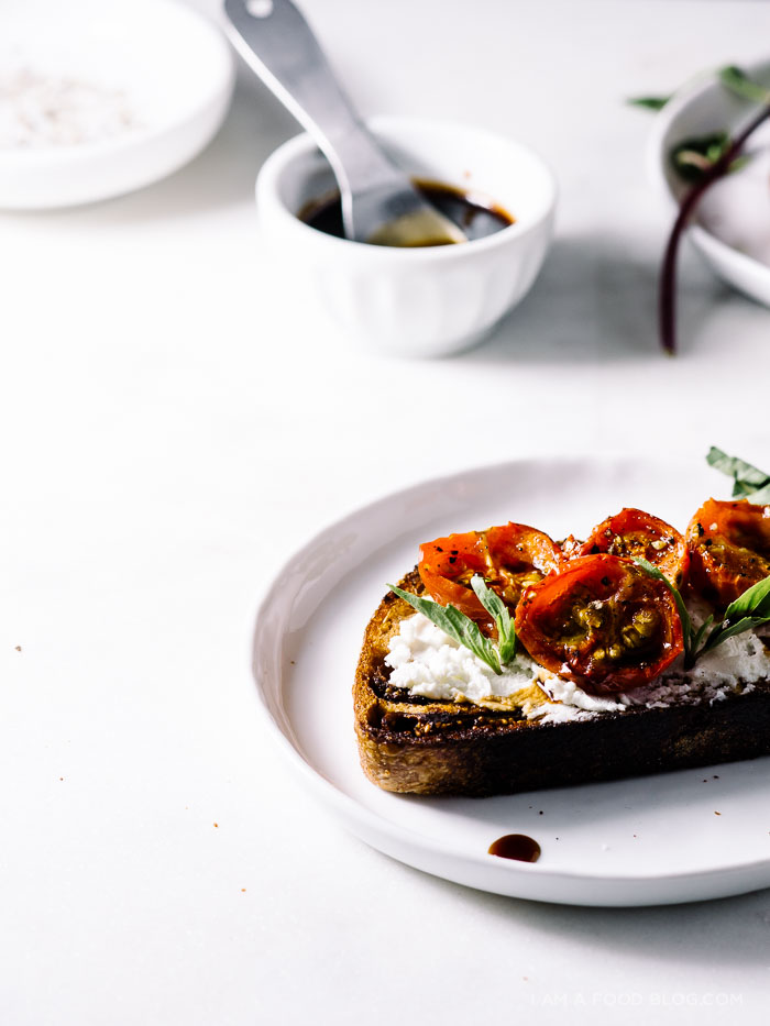 goat cheese toast with roasted tomatoes and balsamic - www.iamafoodblog.com
