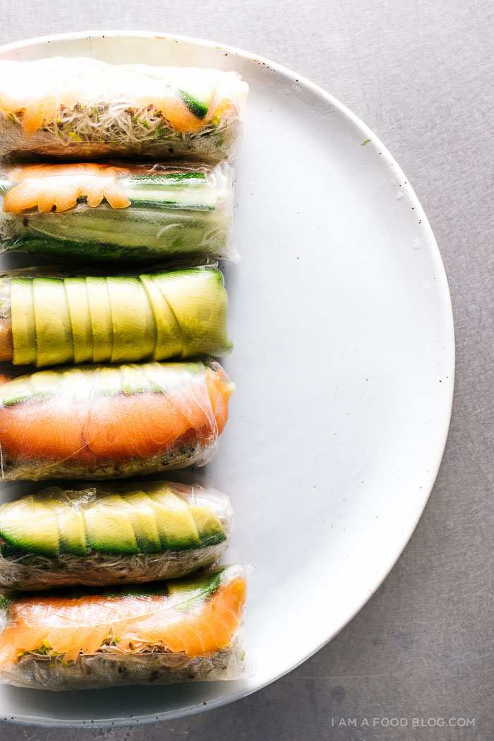 salmon avocado summer rolls recipe - www.iamafoodblog.com