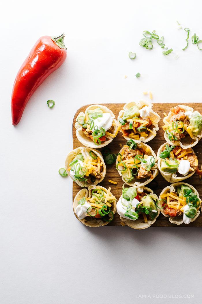 chicken chili tortilla cup recipe - www.iamafoodblog.com
