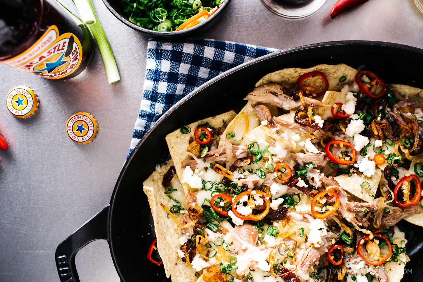 beer braised pulled duck nachos recipe - www.iamafoodblog.com