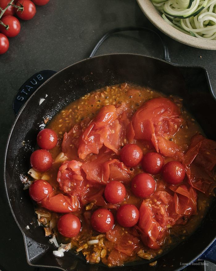 Burrata and Tomato Zoodles - www.iamafoodblog.com