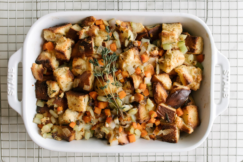 Mushroom Herb Challah Stuffing | www.iamafoodblog.com