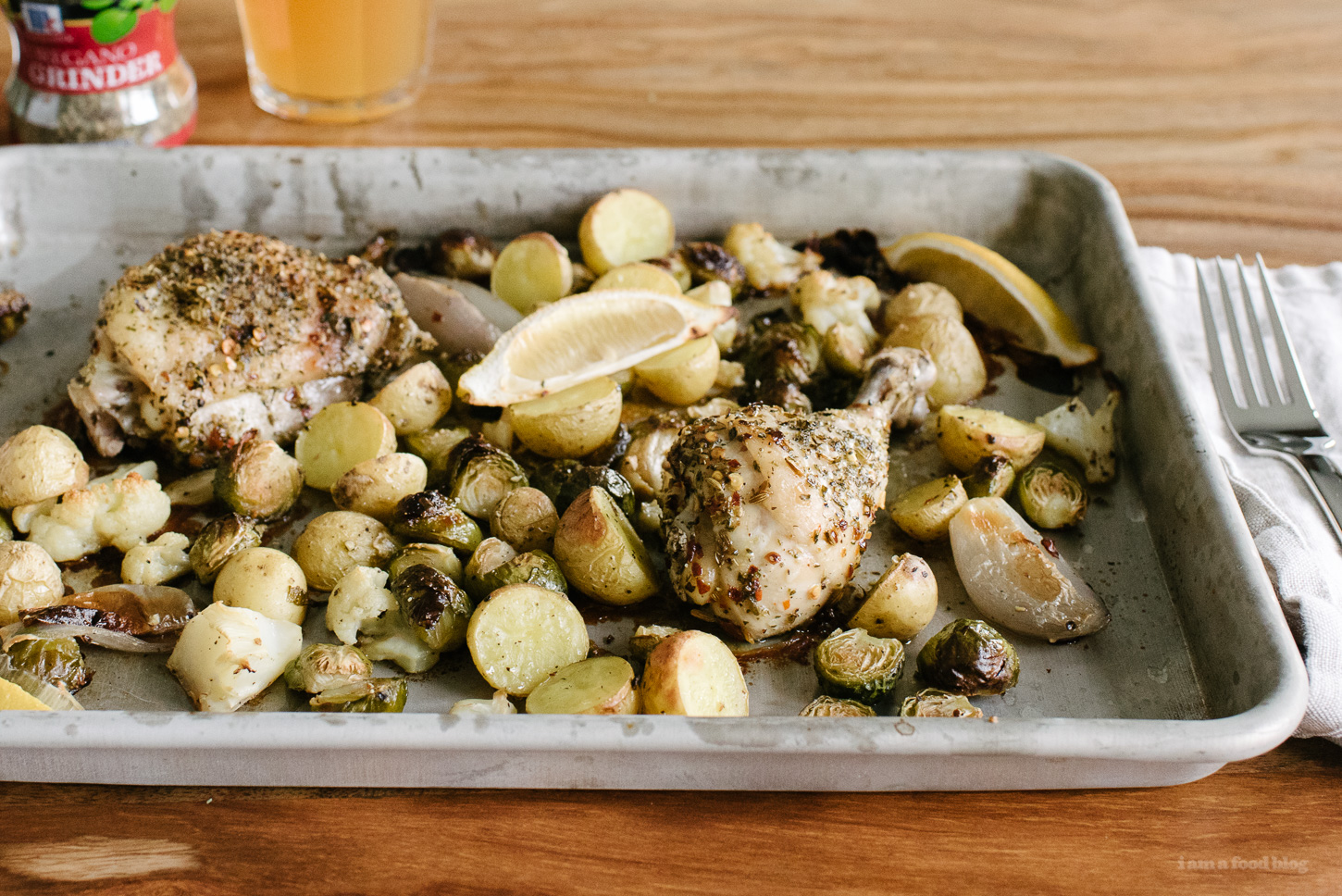 Herb Crusted Roasted Chicken Sheet Pan Supper - www.iamafoodblog.com
