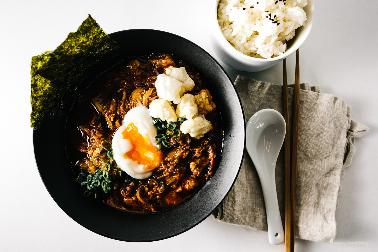 Kimchi Stew with Mochi and Egg Recipe - www.iamafoodblog.com