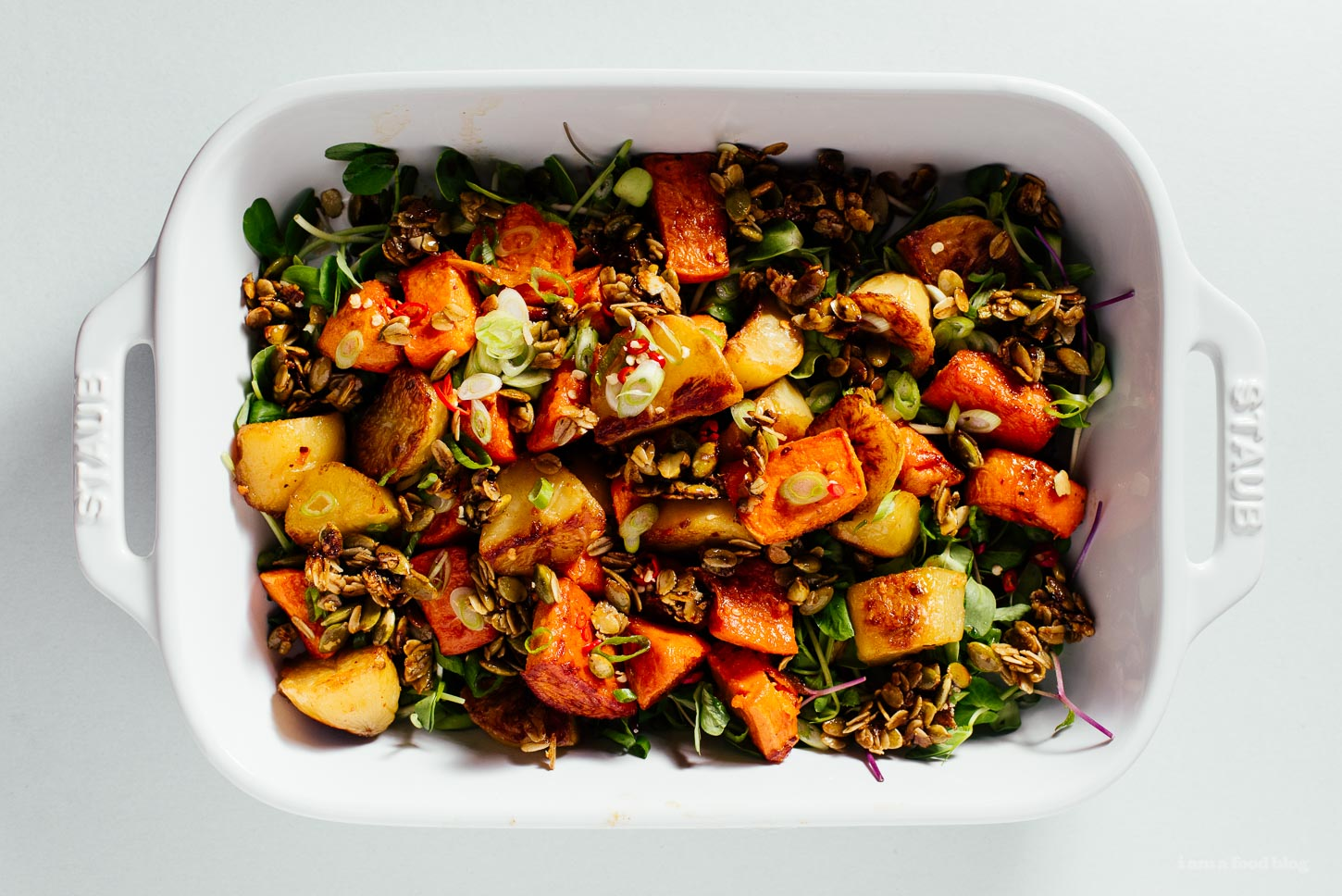 chili roasted potatoes and sweet potatoes with savory crunchy granola | www.iamafoodblog.com