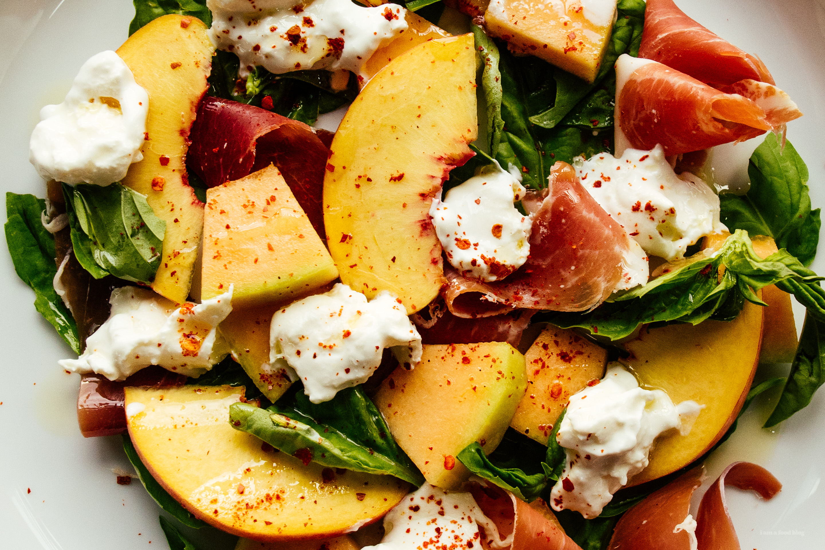 The Summer Salad You Should Make Right Now: Peach Melon Basil and Burrata - www.iamafoodblog.com