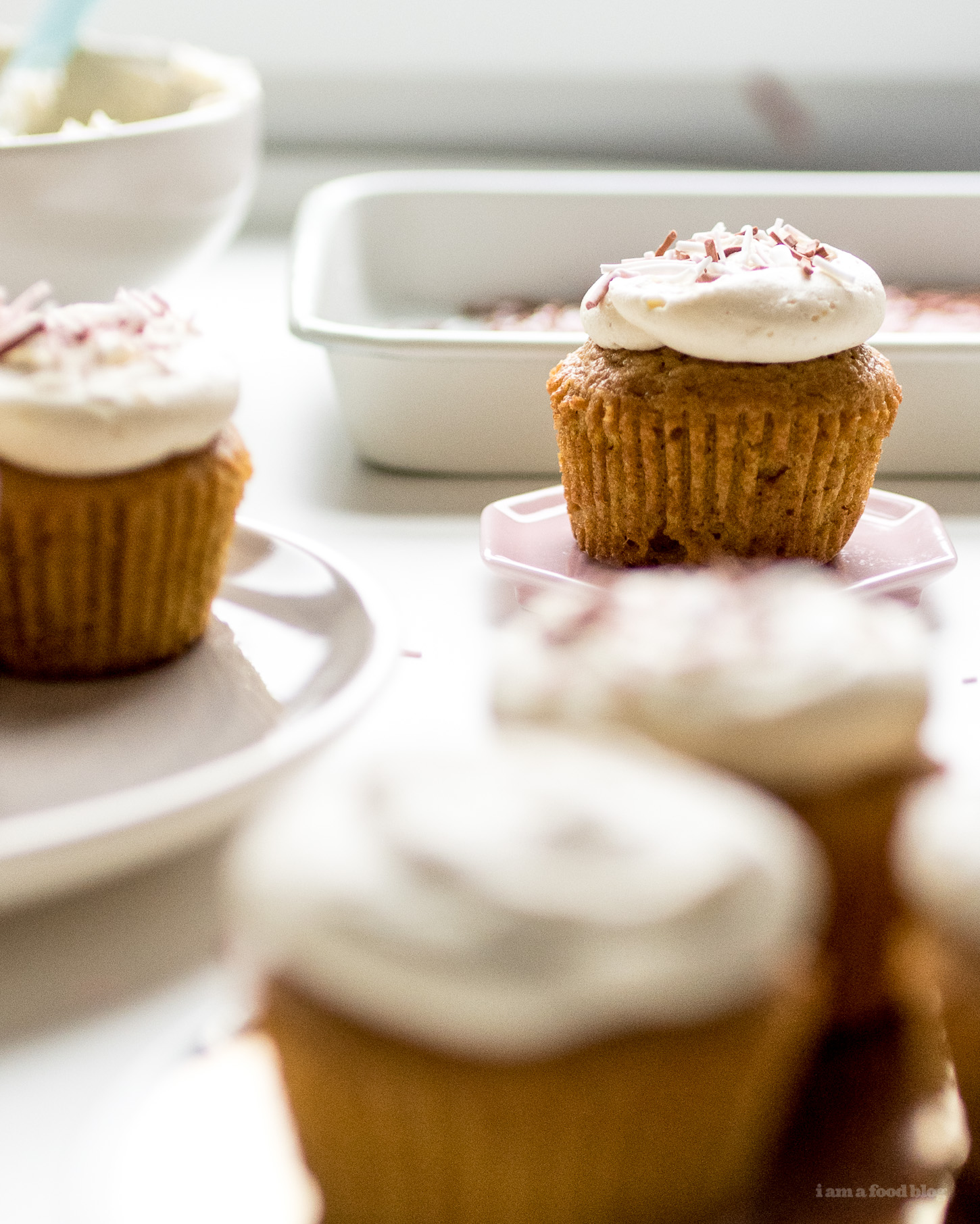 One Bowl Pumpkin Cupcakes with Brown Butter Frosting Recipe - www.iamafoodblog.com