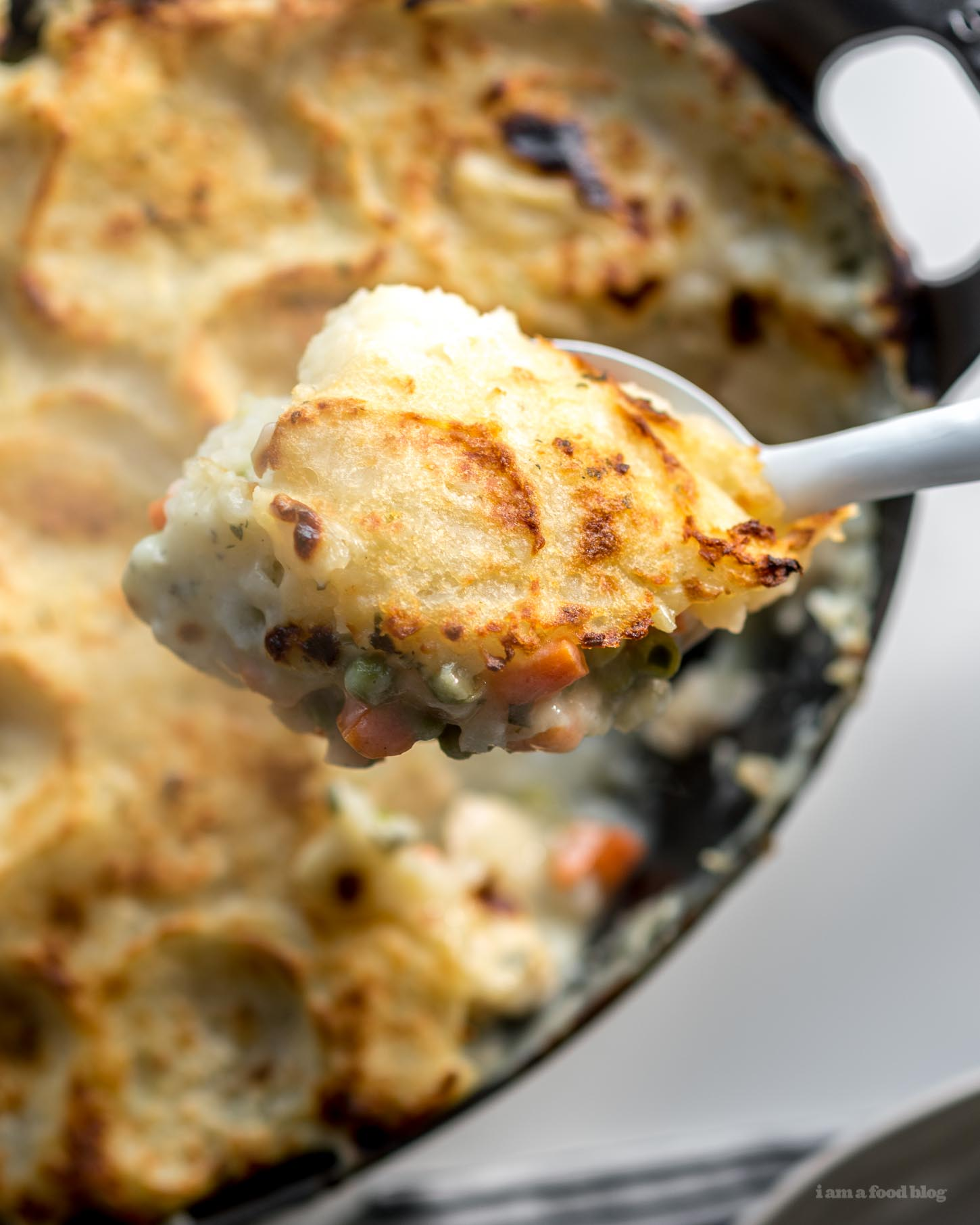 Potato Topped Turkey Pot Pie Recipe - www.iamafoodblog.com