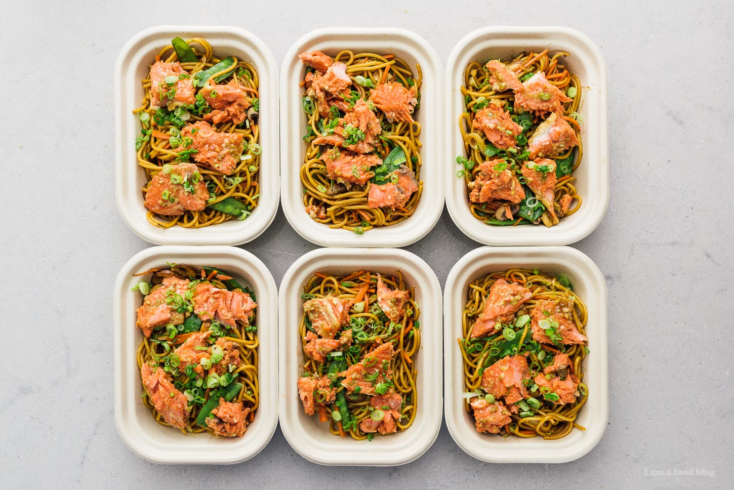 Honey Garlic Salmon with Spaghetti Meal Prep Recipe | www.iamafoodblog.com