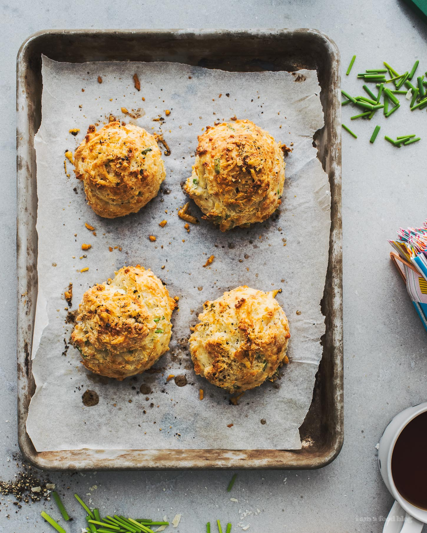 Small Batch Black Pepper Parmesan Chive Biscuit Recipe | www.iamafoodblog.com