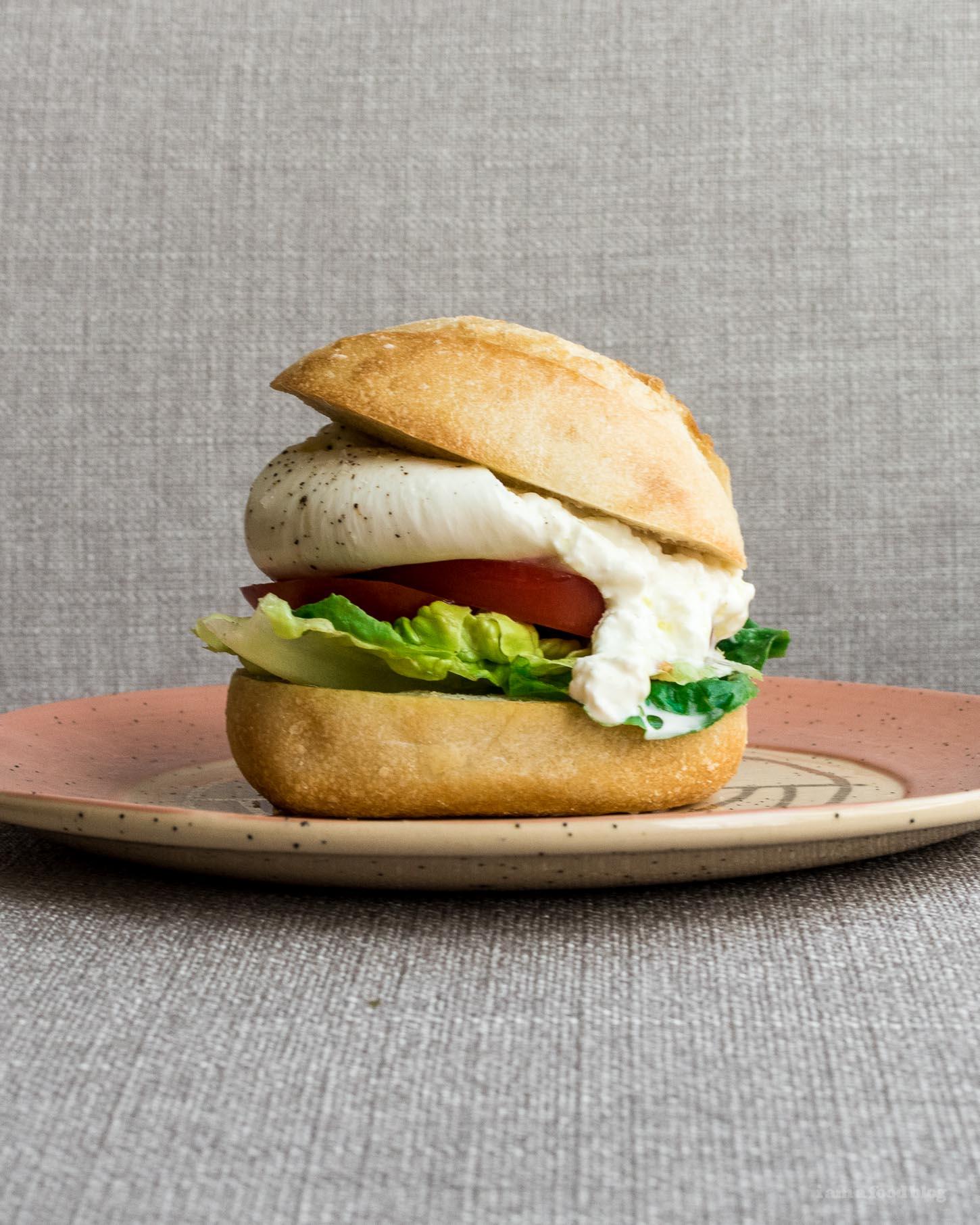 BLT Burrata, Lettuce, and Tomato Sandwich | www.iamafoodblog.com