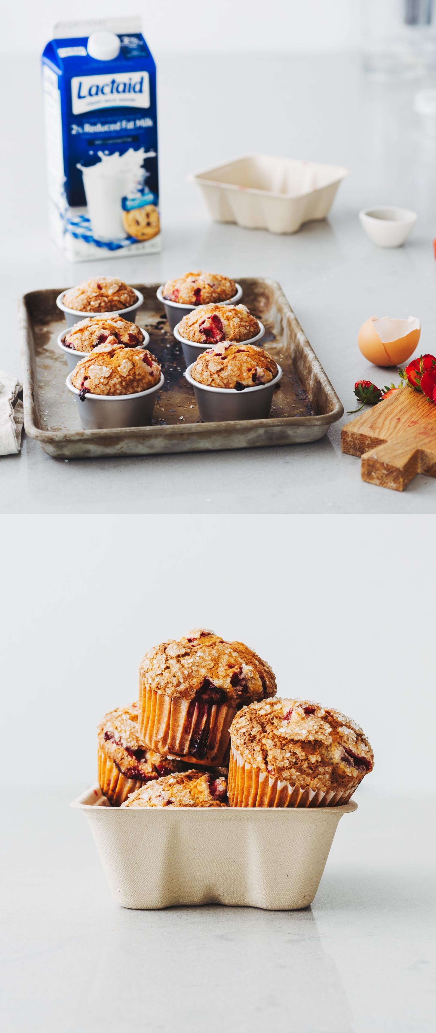 #ad Grab and go with all the flavors of early summer in a muffin bursting with strawberries. Sky-high bakery strawberry muffins made lactose-free with Lactaid milk! brought these guys  #milkthemoments #lactosefree #muffins #baking #recipe