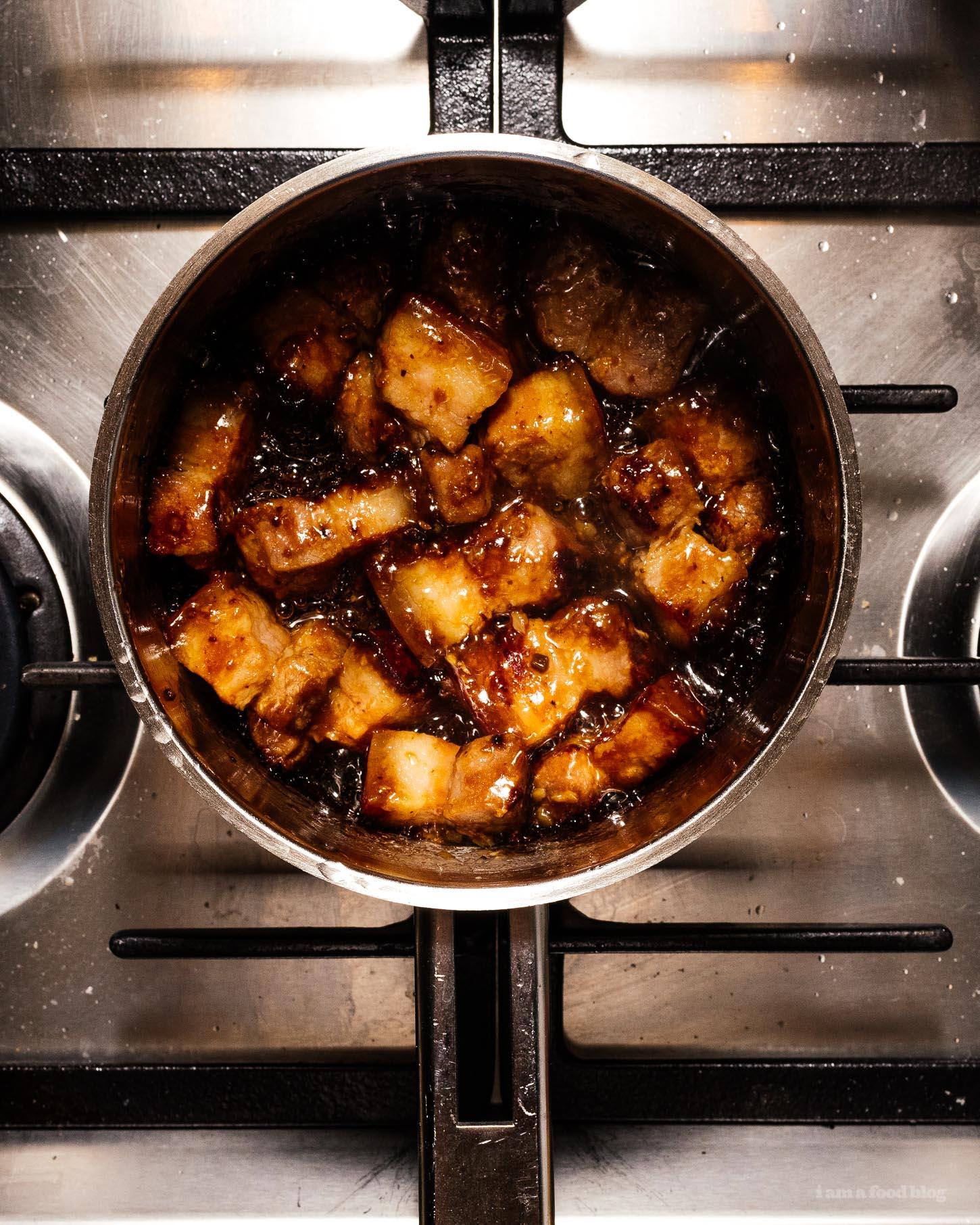 6 Ingredient Bourbon Braised Black Bean Pork Belly | www.iamafoodblog.com