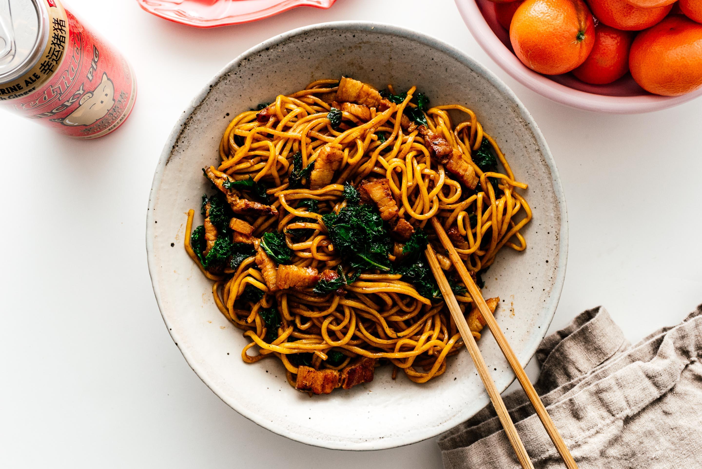 Pork Belly And Kale Fried Noodles I Am A Food Blog I Am A Food Blog