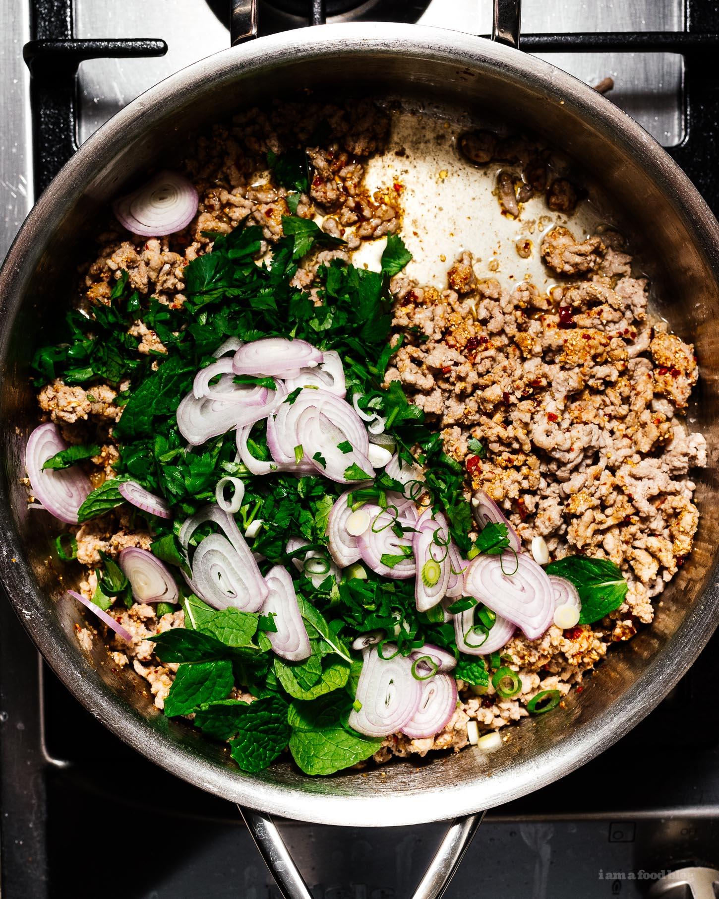 Larb Moo Pork Larb Recipe - Thai Pork Salad | www.iamafoodblog.com