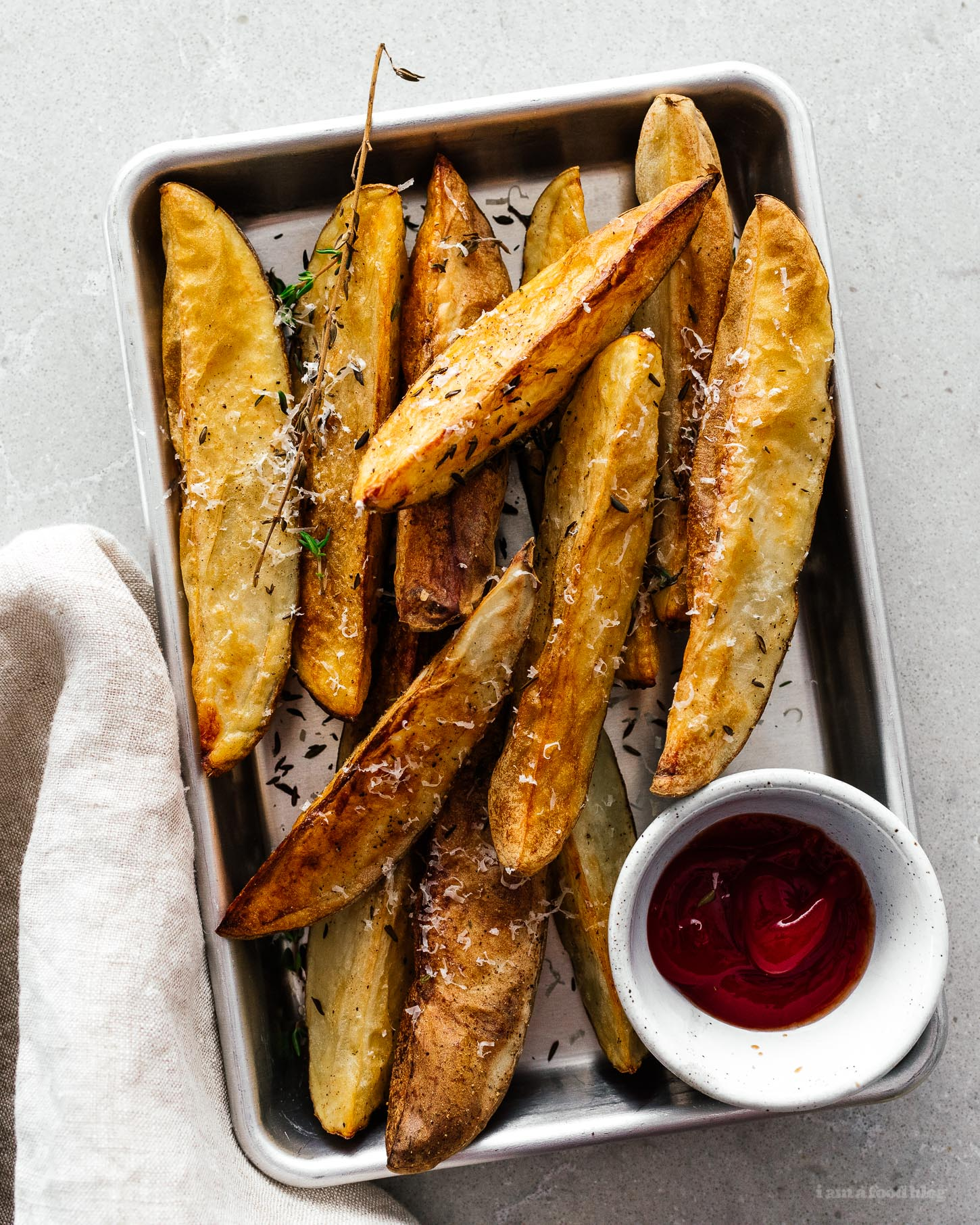 Crispy Air Fryer Parmesan and Thyme Roasted Wedge Fries | www.iamafoodblog.com