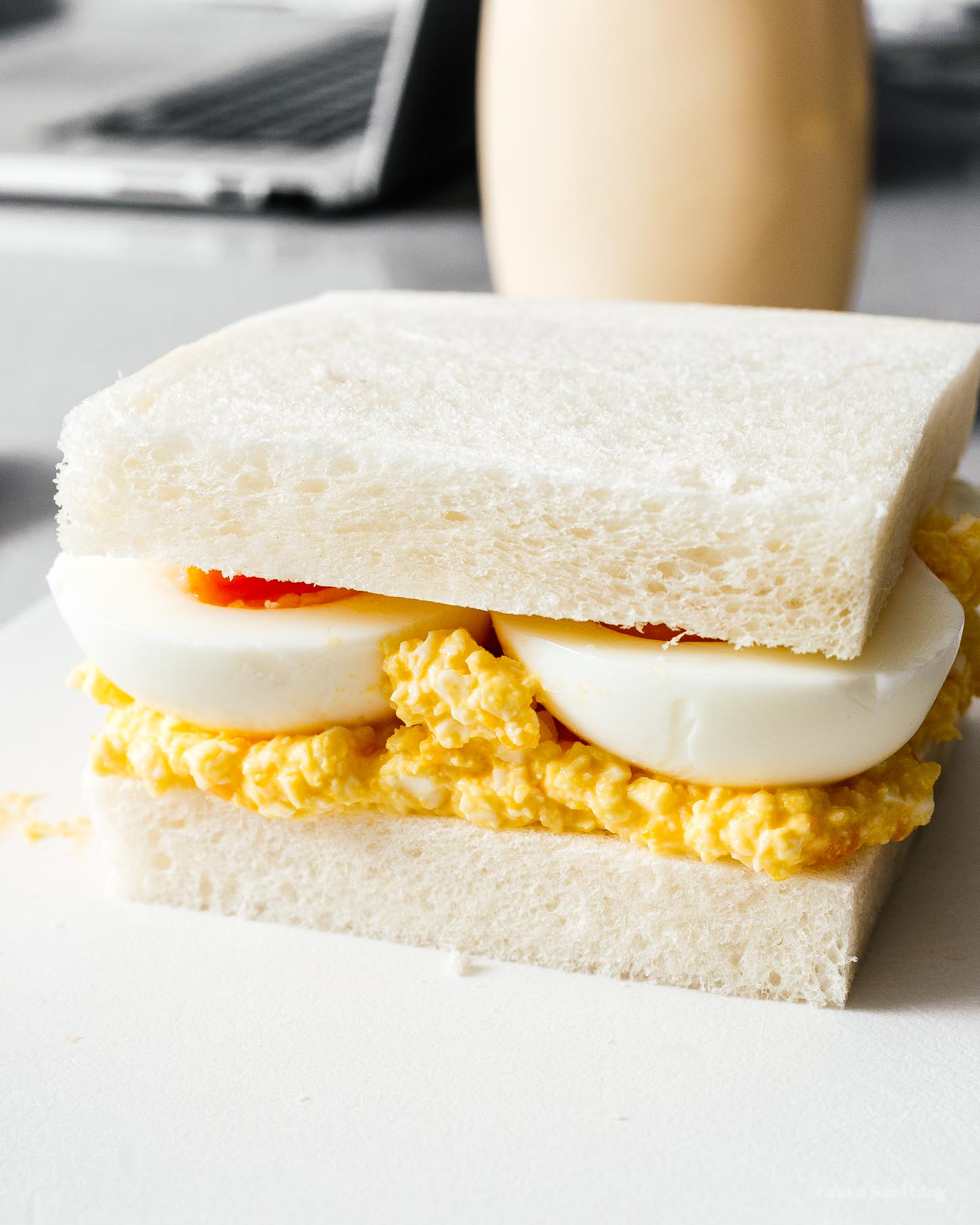 Japanese-style egg salad sandwiches! Do you love egg salad sandwiches but want a twist? Creamy kewpie mayo and jammy eggs makes this sandwich a winner. Just like the sandwiches you had on vacation in Japan but better ;) #sandwiches #eggsalad #japanese #japanesefood #recipes #recipeoftheday #eggs