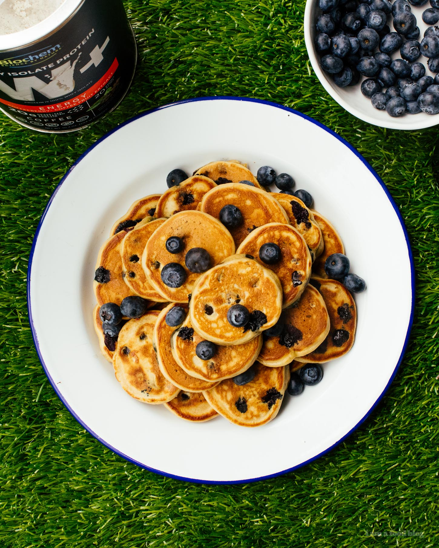 Protein Packed Mini Blueberry Espresso Pancakes | www.iamafoodblog.com