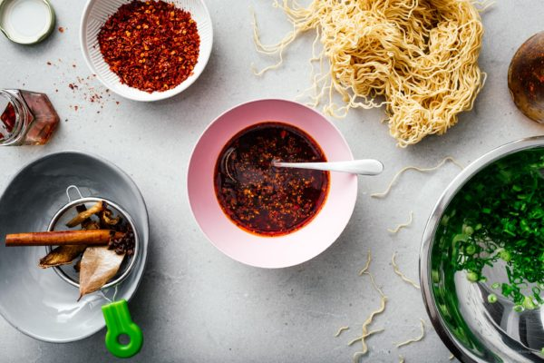 Want to know how to make authentic Chinese chili oil at home? Try this recipe! Chili oil is amazing with rice, noodles, wontons, salads. Use it as in an ingredient in recipes or as a dipping sauce. www.iamafoodblog.com #chilioil #chinesechilioil #recipes #easy #homemade #sichuan""