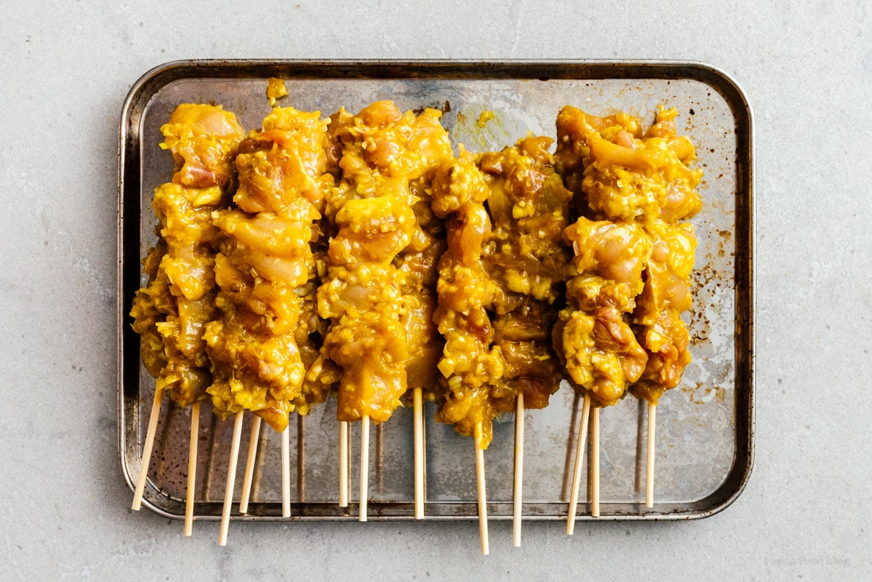 skewers of uncooked chicken satay | www.iamafoodblog.com