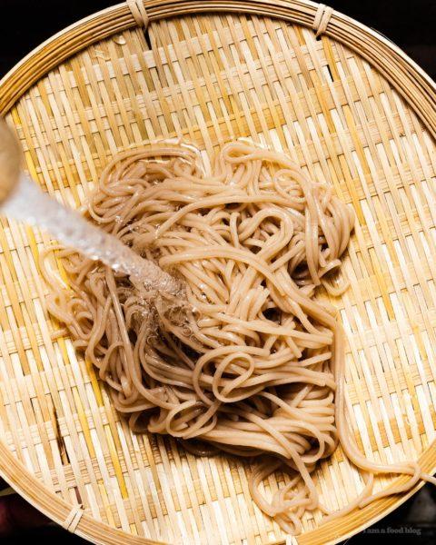 10 minute zaru soba with crispy salmon and quick pickled radishes recipe | www.iamafoodblog.com