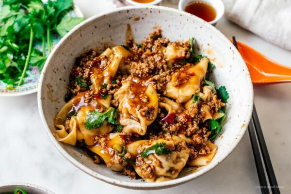 turkey wontons in turkey mapo sauce | www.iamafoodblog.com