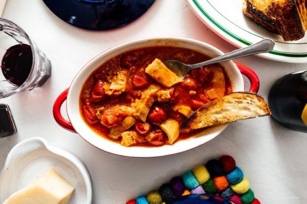 Trippa alla Romana or Roman style tripe in tomato sauce: super tender and rich honeycomb tripe slow cooked in a savory Roman style tomato sauce. #tripe #italianfood #romanfood #recipe