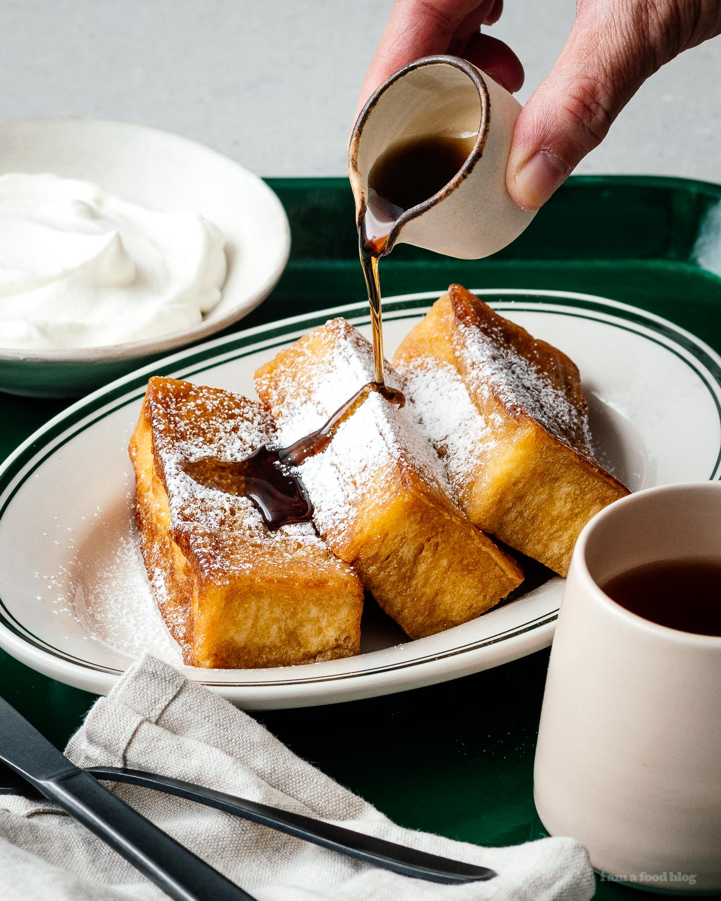 This Japanese tamagoyaki-inspired french toast is soft and custardy on the inside and crisp on the outside. The perfect combination of sweet and savory!   www.iamafoodblog.com