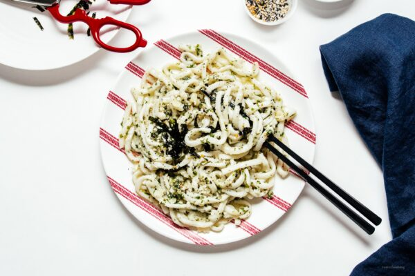 Everything Bagel Pesto Stir Fry Yaki Udon | www.iamafoodblog.com