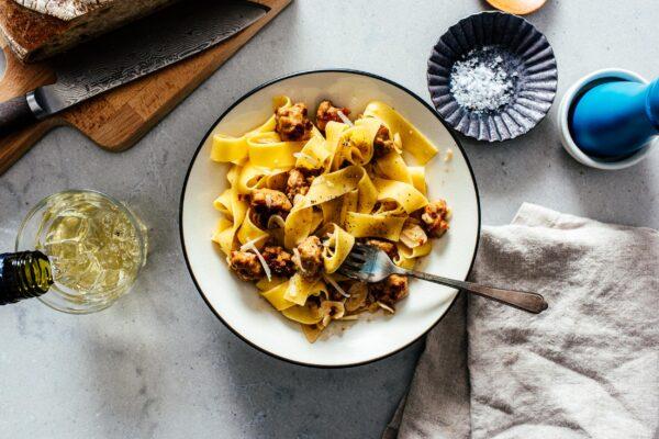 Garlic Parmesan Pasta with Sausage | www.iamafoodblog.com