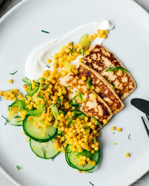 Pan-fried Halloumi with Israeli cous cous salad | www.iamafoodblog.com