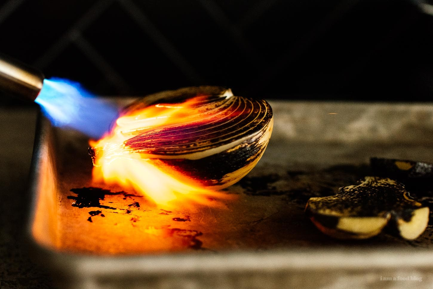 charring onions with a blowtorch | www.iamafoodblog.com