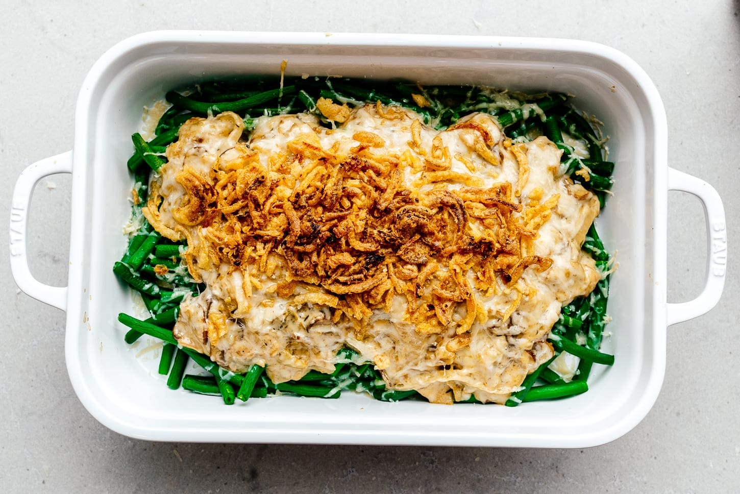 french fried onions on green bean casserole | www.iamafoodblog.com